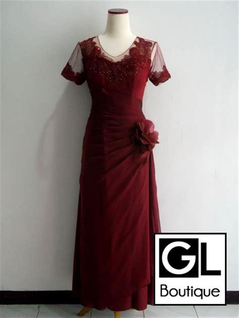 Baju Muslim Sifon Marron Mission72 jual sewa gaun pesta bandung sifon maroon panjang gl