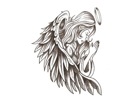 kneeling angel tattoo designs kneeling clipart best