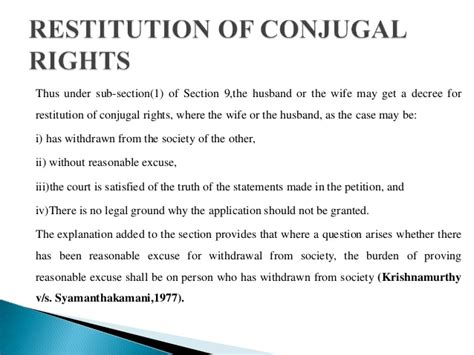 section 9 restitution of conjugal rights matrimonial remedies under hindu marriage act 1955