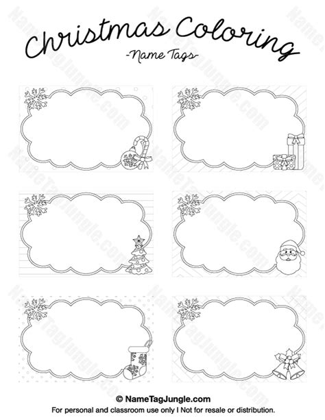 coloring pages for name tags printable christmas coloring name tags