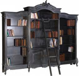 Library Bookshelves With Ladder Moulin Noir Library Bookcase And Ladder Ch2641 B