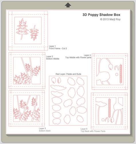 Shadow Box Card Template by Ashbee Design Silhouette Projects 3d Poppy Shadow Box