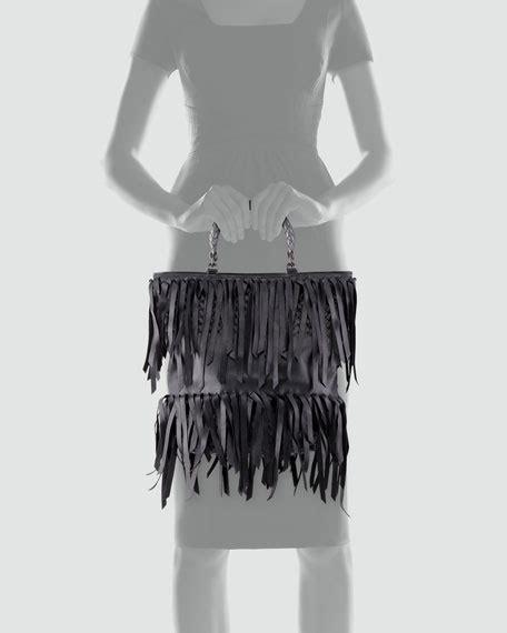 Rizasa Woven Fringe Tote Bag by Bottega Veneta Woven Handle Fringe Leather Tote Bag Black