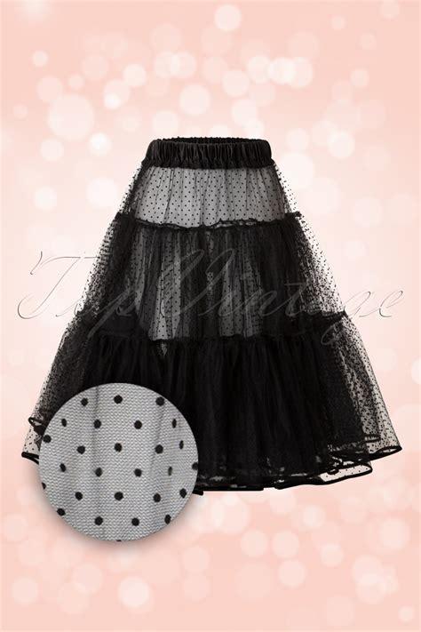 Baju Retro Polkadot 50 piper polkadot petticoat in black