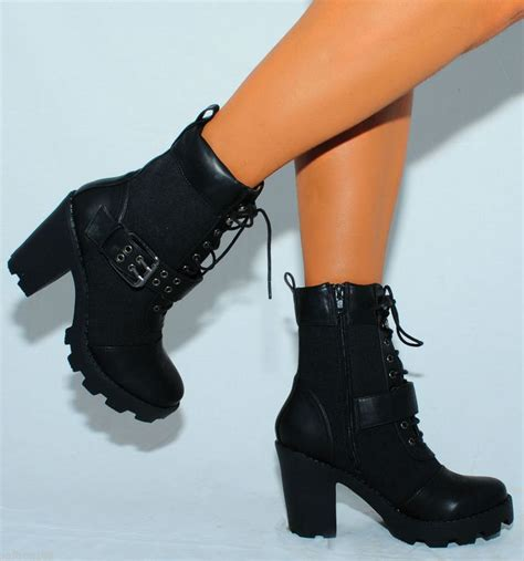 high heeled army boots womens fashion ankle boots black combat army high