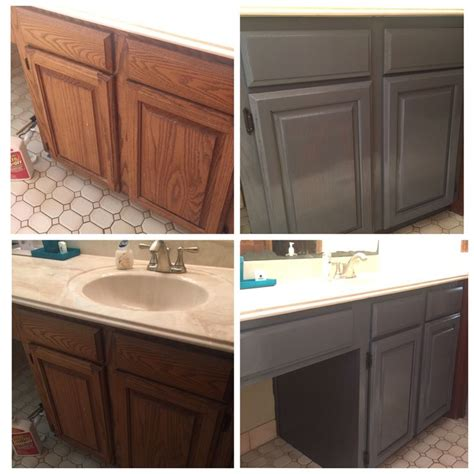 gray stained oak cabinets before and after using varathane weathered grey over 1987