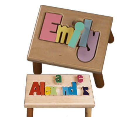 Childs Stool With Name Puzzle by Personalized Child S Name Puzzle Stool Children Wooden