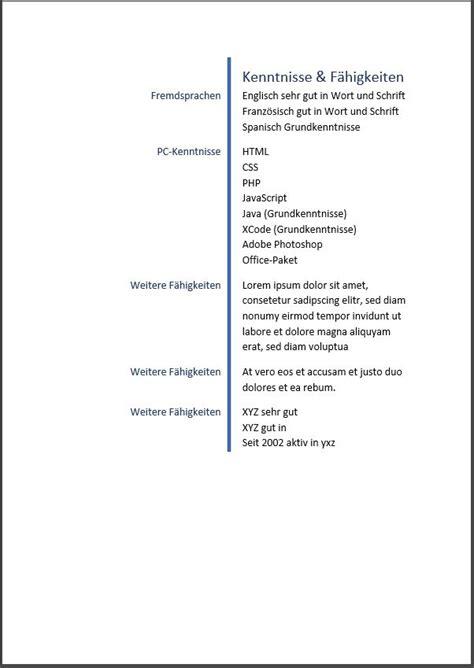 Einfacher Lebenslauf by Lebenslauf Muster Vorlage 4 Bewerbungswissen Net