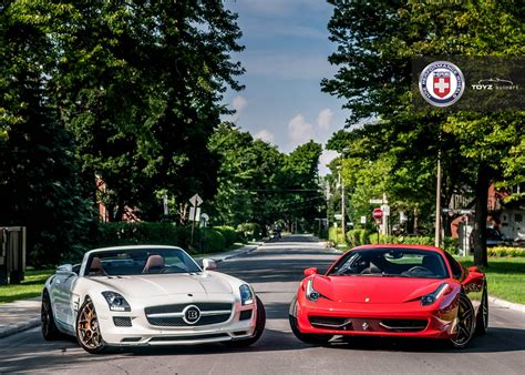 Mercedes Benz SLS AMG and Ferrari 458 Italia on HRE Wheels