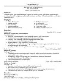 best franchise owner resume example livecareer