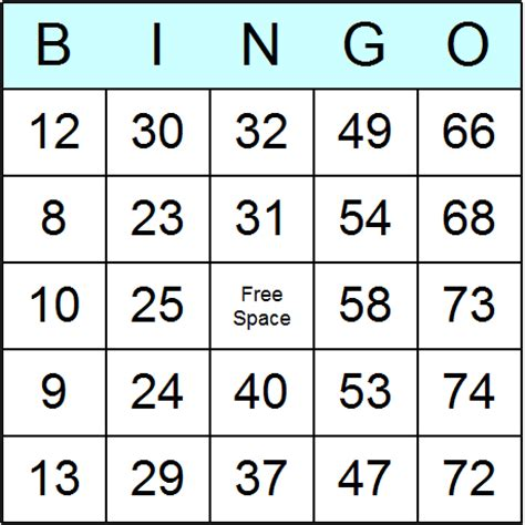 standard bingo cards printable bingo activity and