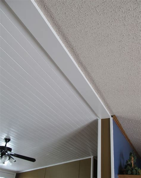 How To Redo Popcorn Ceilings by Diy Plank Ceiling Vs Popcorn Ceiling This Shows The New