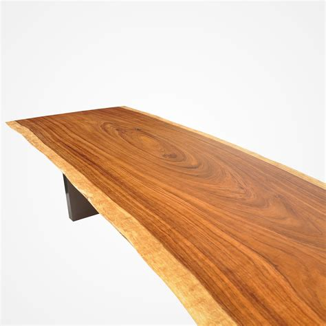 live edge tamburil wood dining table powder coated metal