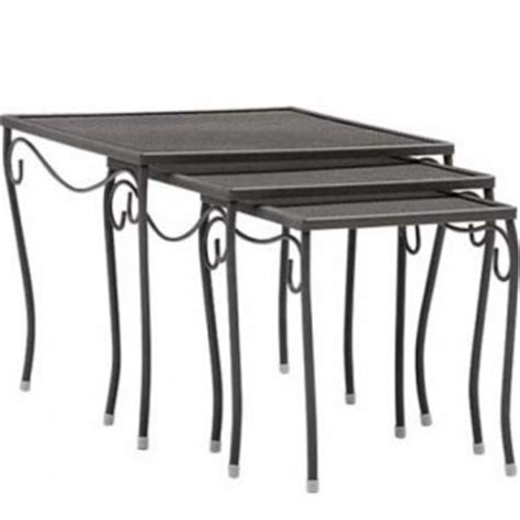 set of three end tables restaurant furniture mesh top 3 square end table set