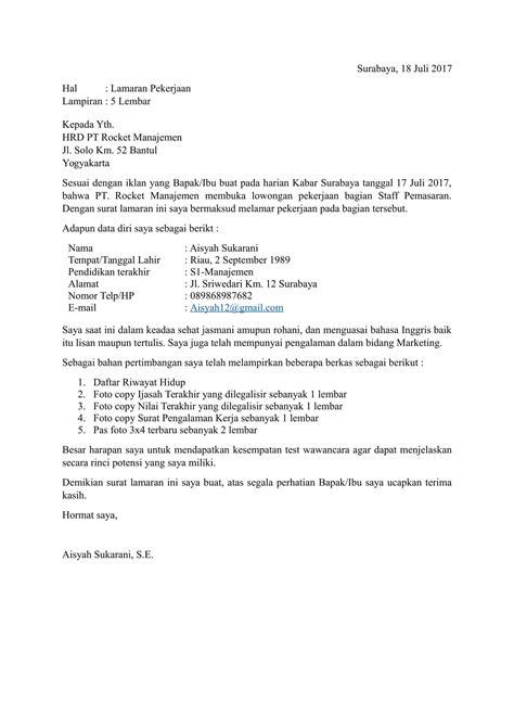 Contoh Pengirim Surat Lamaran Kerja by Contoh Surat Lamaran Kerja Dan Cv Terbaru Doc
