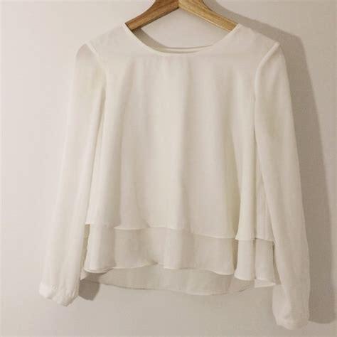 Sc2487 Hem Zara White zara white sleeve blouse pretty layered hem size s