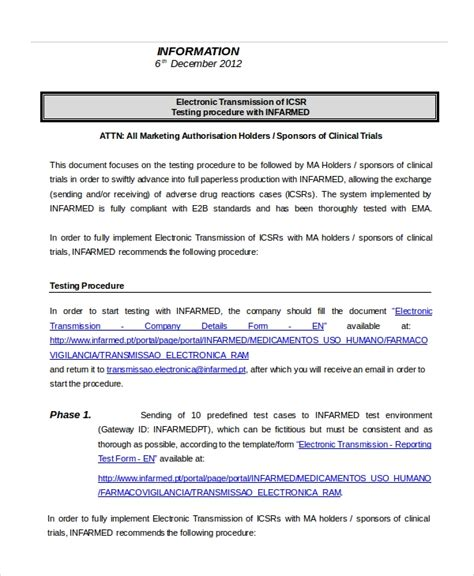 testing procedures template procedure template 8 free word documents