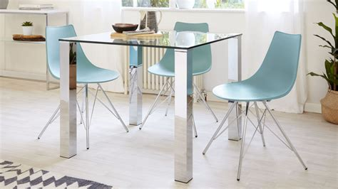 Small Glass Dining Tables Square Glass Dining Table For 4 Chrome Legs Danetti Uk