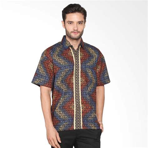 Baju Kemeja Lengan Pendek Pria Batik Maroon Abstrak Tribal Slimfit jual blitique abstrak kemeja batik pria merah biru