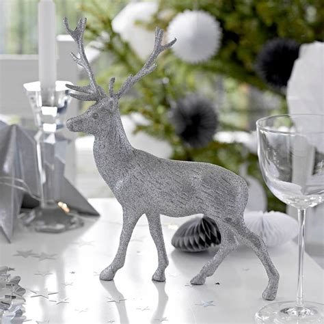 silver reindeer christmas table decorations by little