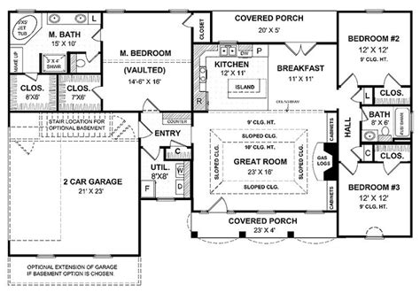 house plans with large kitchens a simple one story house plan with two master wics big