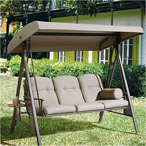 3 seat patio swing with canopy abba patio taupe colored outdoor 3 seat porch swing with