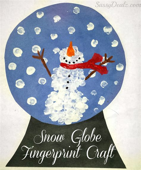 paper snow globe craft fingerprint crafts u create