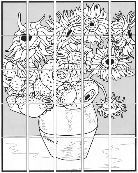 Free Coloring Pages Of Sunflowers Vangogh Gogh Coloring Page