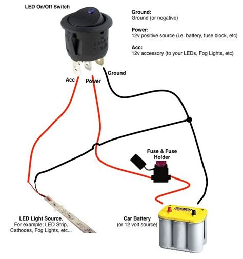 led wiring diagram with switch round rocker switch boat wiring simple circuit car