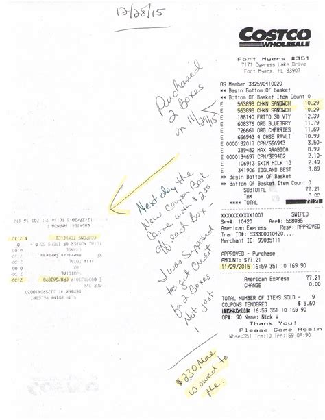 Cosco Receipt Template by Costco Customer Service Complaints Department