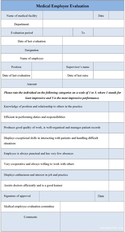 employee evaluation form employee evaluation form sle forms