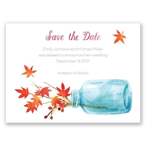 fall wedding invitations and save the dates autumn arrangement save the date card invitations by