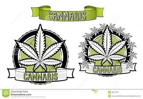 marijuana and ganja leaf design badges stock illustration