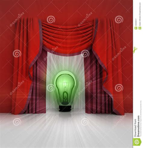 curtain scene red curtain scene with green shiny bulb and flare stock