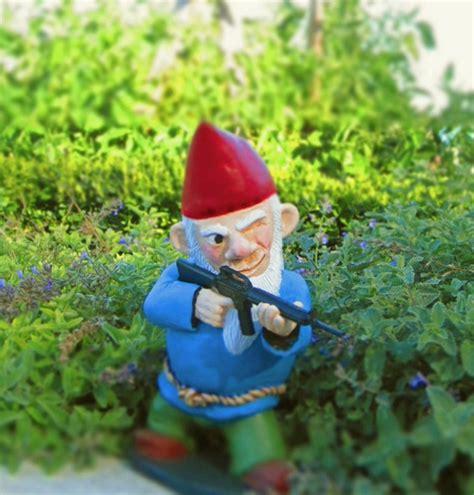 garden gnomes with guns combat garden gnomes photograph combat garden gnome