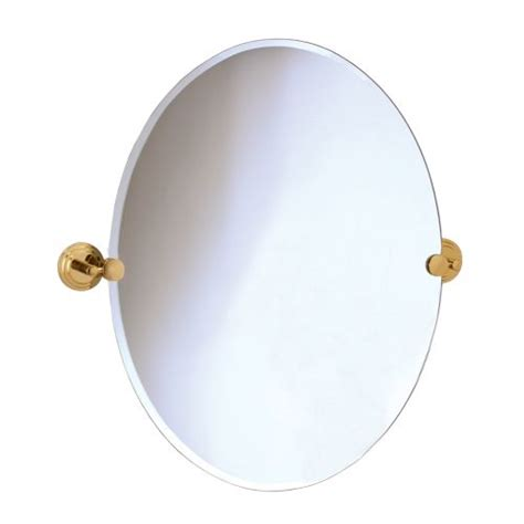 Gatco 5219 Marina Polished Brass Tilting Oval Mirror Brass Bathroom Mirrors