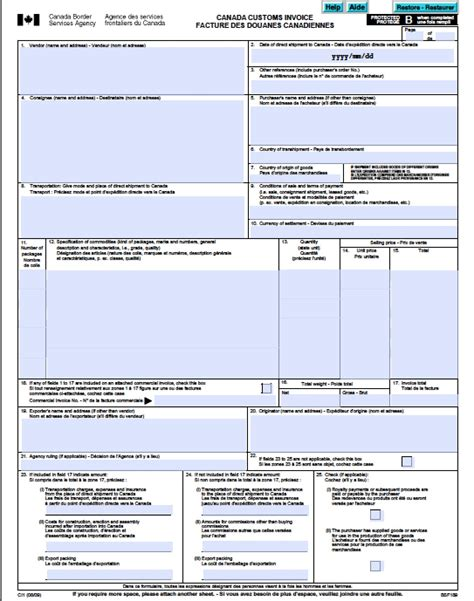 custom invoice template canada customs invoice free canada customs commercial