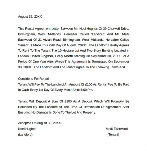 Agreement Letter For Rental House Sle Rental Agreement Letter Template 7 Free