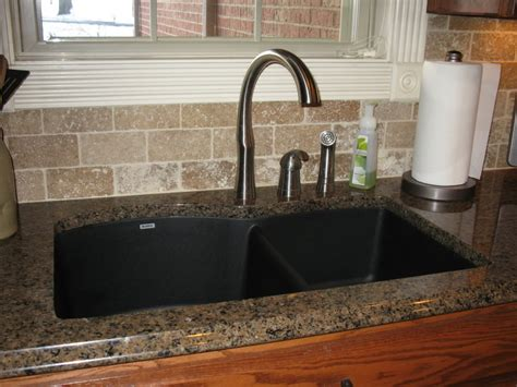 Silgranit Countertops by Tropic Brown Granite With Black Silgranit Sink Kitchen