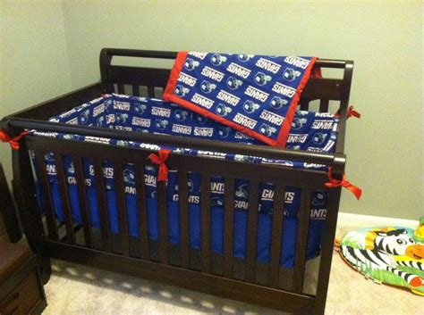Ny Giants Crib Bedding This Set Includes Blanket Pillow Bumper And Sheet Lil Giants Pinterest Shops Pillows