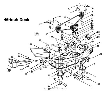 mtd 46 inch deck belt diagram mtd 13ai609h131 1999 parts diagram for deck assembly h
