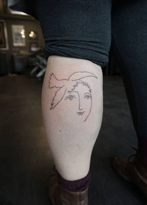 picasso tattoo handpoked pablo picasso drawing calf tattoos