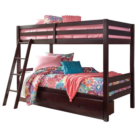 bed with bed under signature design by ashley halanton solid pine twin twin
