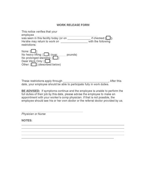 Release Letter To Go Back To Work Release Form From Doctor To Return To Work Anuvrat Info