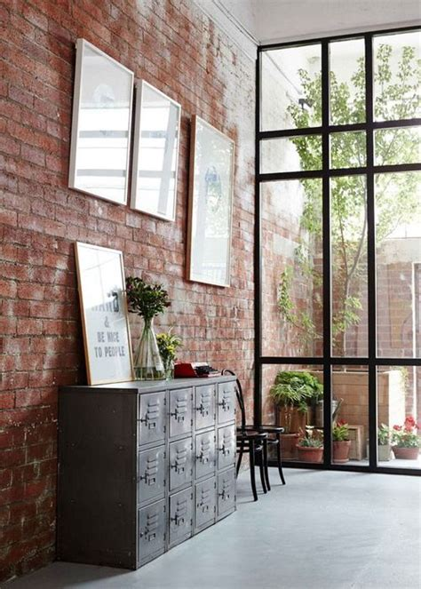 exposed brick window wall entry pinterest