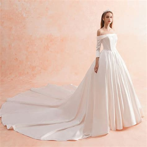 modest simple ivory winter wedding dresses