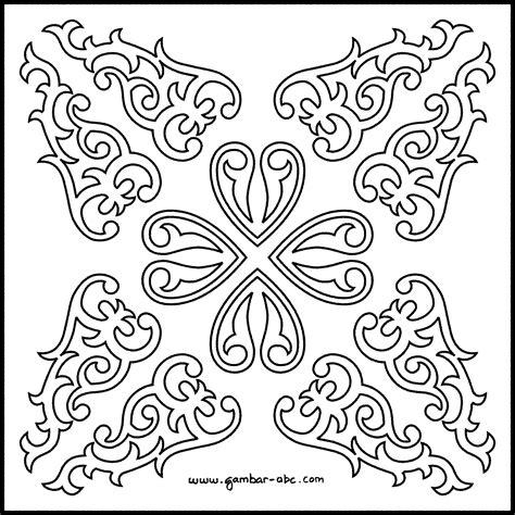 batik ornament contoh gambar mewarnai
