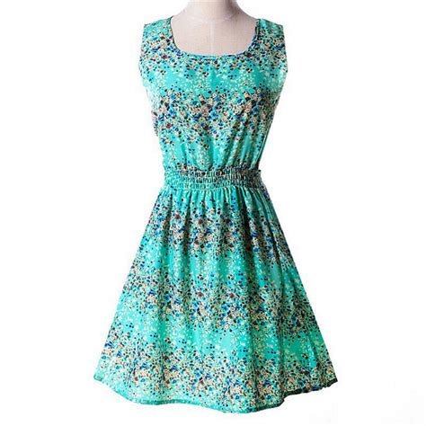 summer dress above knee tank dresses floral print pattern chiffon sleeveless plus