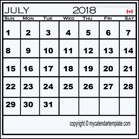Calendar 2018 Canada Excel July 2018 Calendar Canada Calendar Template Excel