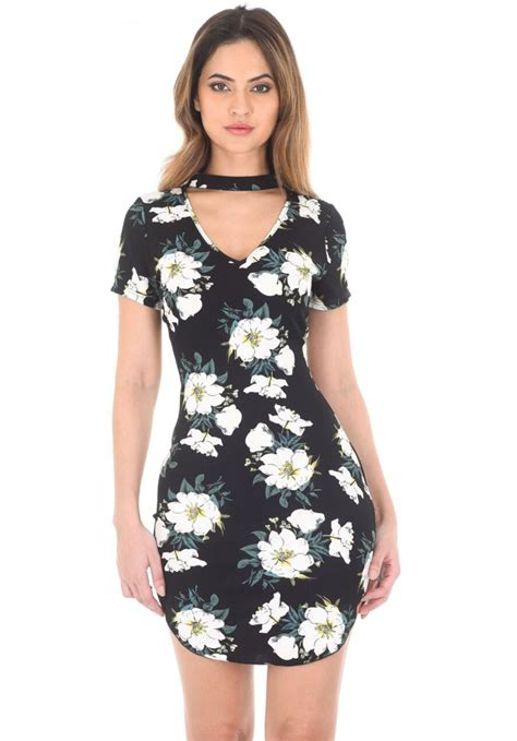 Fathana Flowery Bodycon Mini Dress black floral choker mini bodycon dress